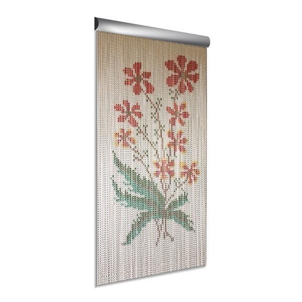 DEGOR Vliegengordijn aluminium bloem rood